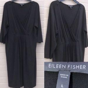 Eileen Fisher 100% Silk Black Career Formal Dress
